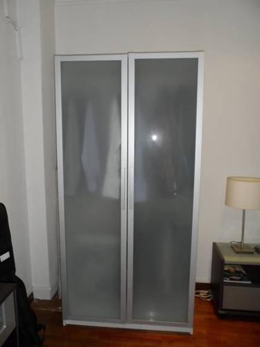 Ikea Wardrobe White With Frosted And Tempered Glass Doors For Sale