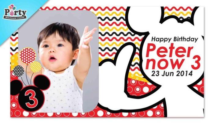 Inspired Mickey Mouse Custom Birthday Banner for Girls