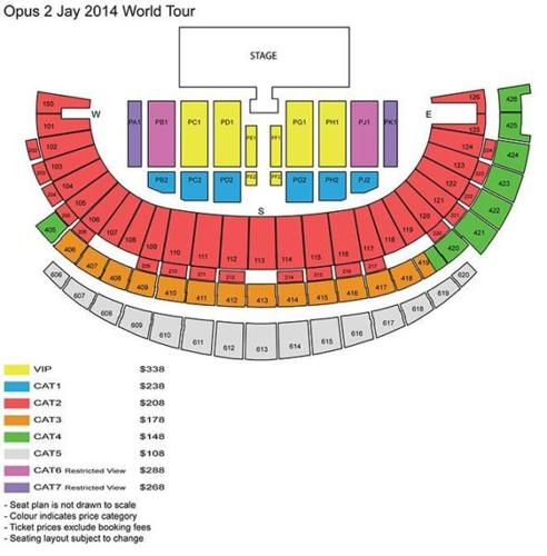 Jay Chou Opus 2 8th Nov cat 5 tickets (3 pairs for