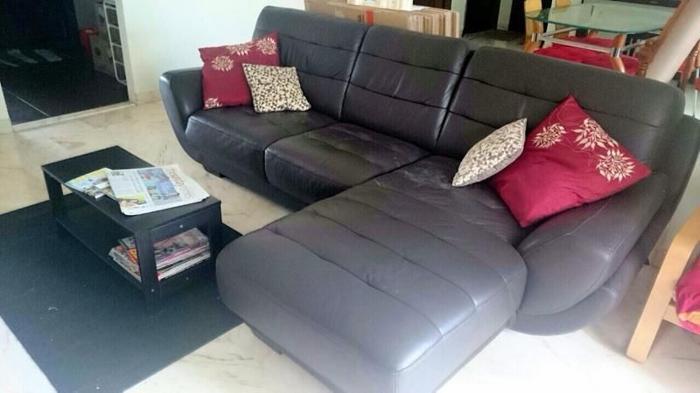 L Shape 3 Seater Seahorse Genuine Leather Sofa