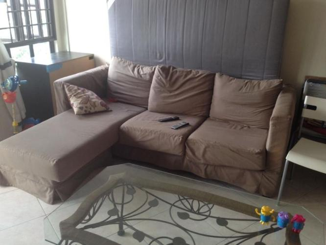 L Shape Brown Colored Sofa - Newly covered