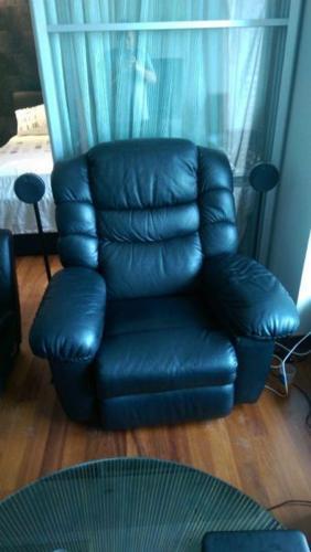 La Z Boy Recliner Black Leather, Fridge / Phone /