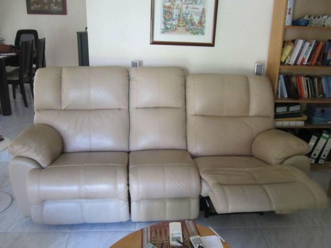 Leather sofa with 2 recline seats