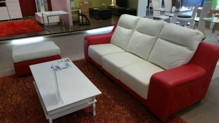 like new 3 seater leather + footstool For Sale!