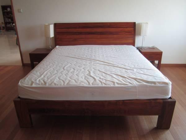 Like New &Beautiful Teakwood bed and Mattress (King