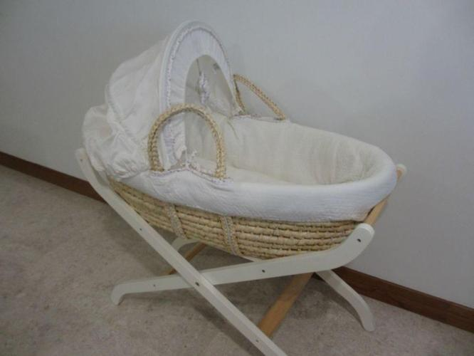 'Loved So Much' Mothercare Moses Basket With Sheets &