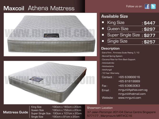 MAXCOIL ATHENA QUEEN MATTRESS ONLY AT :$297,NO GST