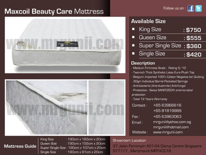 MAXCOIL BEAUTY CARE SINGLE SIZE MATTRESS ONLY AT