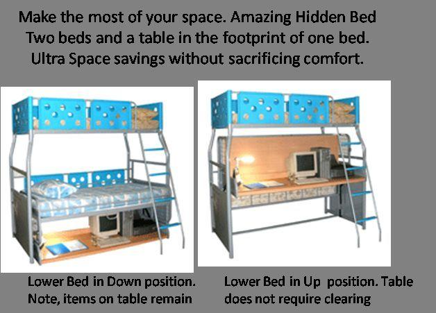Metal Frame Hidden Bed with study Table. Mattress