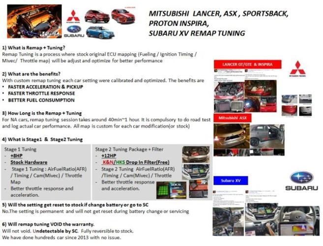 Mitsubishi Lancer ASX and Subaru XV Performance Remap Tuning for