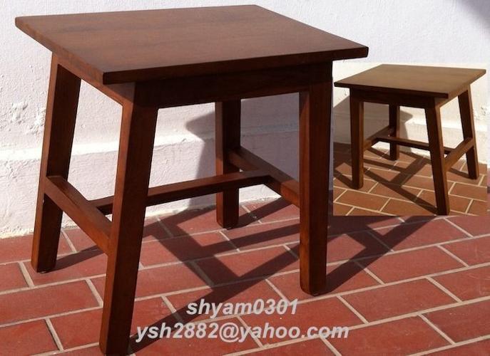 Modern Teak Wood Stool Side Table Mid Century Retro Eames