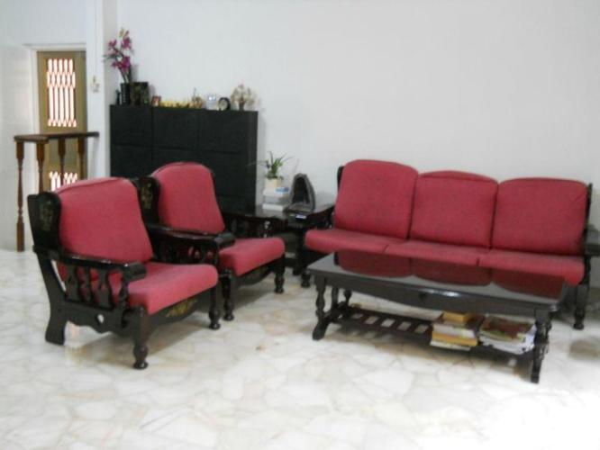 MUST SELL! 3+1+1 SOFA SET, INLAID WITH MOTHER OF PEARL