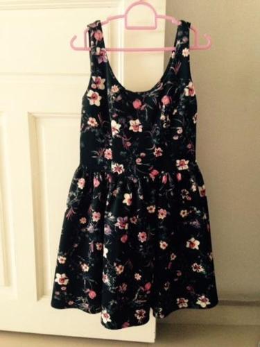 (New) Floral Black Flare Dress