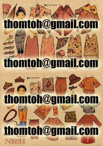 Nonya Baba Paperdolls Nostalgic A4 size Each at $4 or