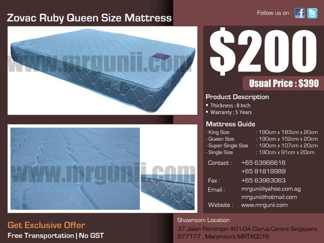 OFFER : Zovac Ruby Queen Size Mattress only at :$200,