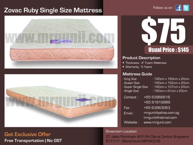 OFFER : Zovac Ruby Single Size Mattress only at : $75,