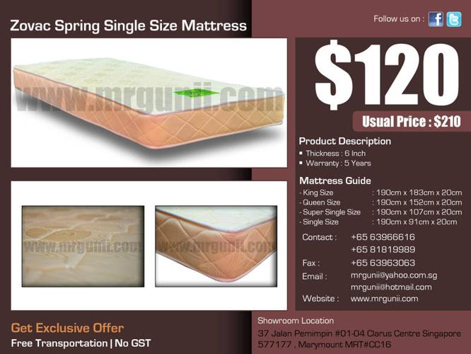 OFFER : Zovac Spring Single Size Mattress only at