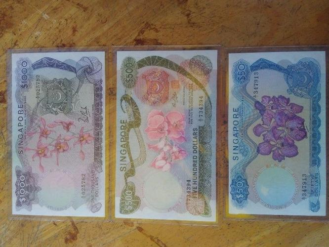 Old vintage singapore currency