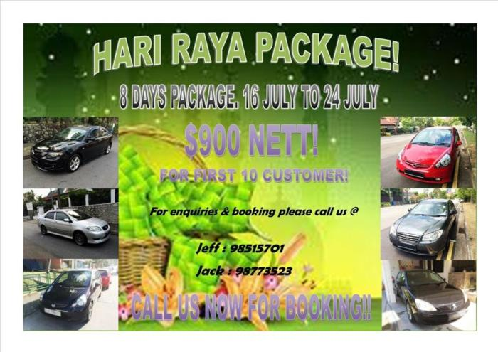 P-PLATE WELCOME! CARS FOR RENT - HARI RAYA PACKAGE!