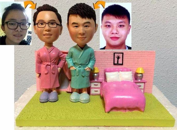 PERSONALIZED 3D SWEET LOVELY COUPLE FIGURINES - ONE &