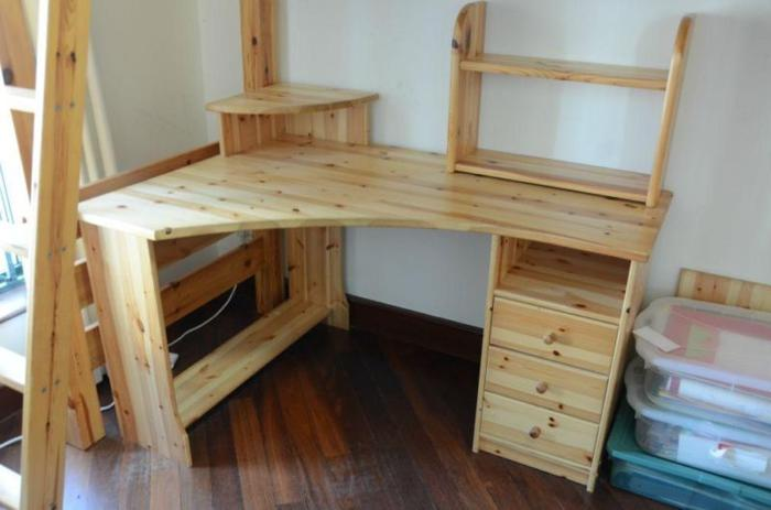 PINE CORNER DESK & SHELF