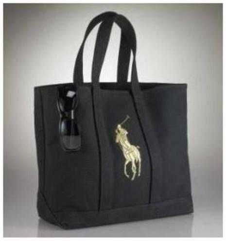 Polo Ralph Lauren Tote Bag-women's (Black/Gold) Medium