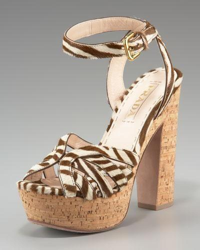 Prada Zebra-Print Hair-Calf Sandal Size 36.5