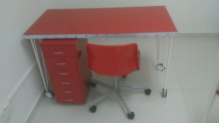 Red Desk + Red Drawer + Red Chair