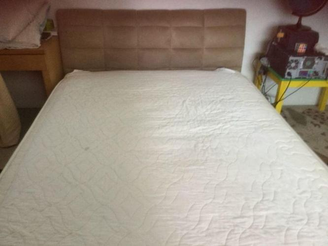 REDUCED! Suede Queen size bed & mattress from Lorenzo