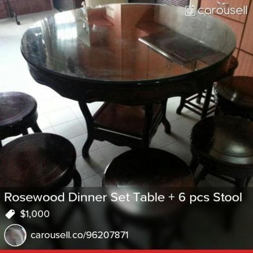 Rosewood Dinner Set Table & Stool
