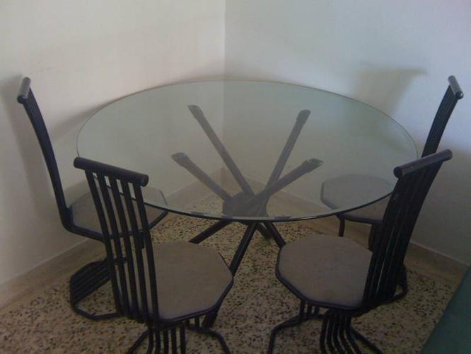 Round Dining Table Glass Top With Four Chairs For Imm Sale