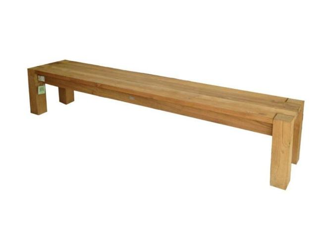 Rustic 87-Inch Long Backless Outdoor Bench in Teak
