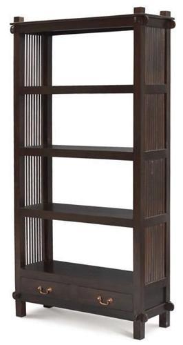 Rustic Ruji Bookcase, Teak Wood Bookshelves, Low