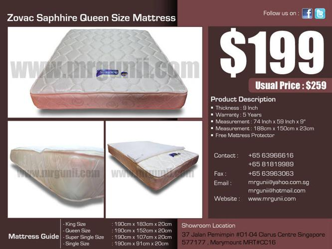 OFFER:Zovac Saphhire Queen Size Mattress only at :$199,