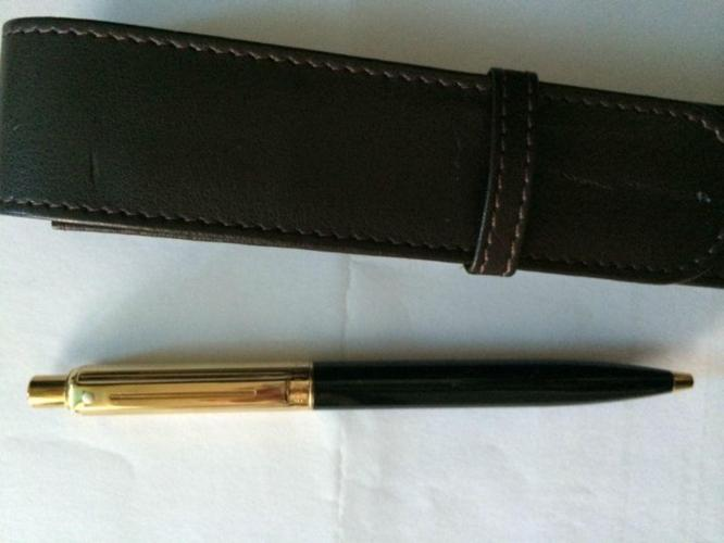 Sheaffer Gold Plated Black Lacquer Ball Point Pen
