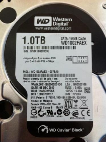 SOLD - WD Black WD1002FAEX 1TB 64MB Cache SATA 6.0Gb/s