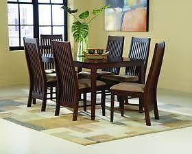 Solid Teak Dining Table & Chairs Set. New. Warehouse