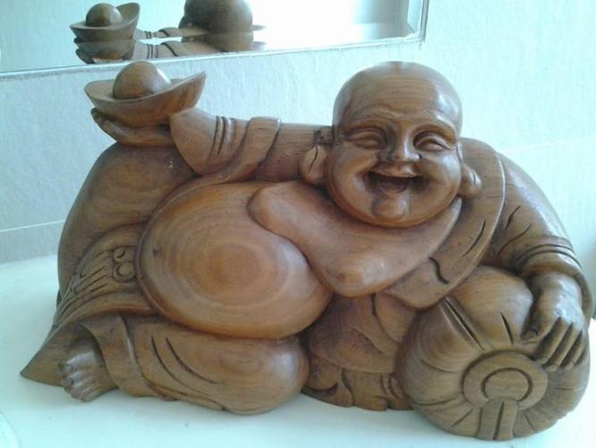 Solid Wooden craving- Smiling Buddha Status