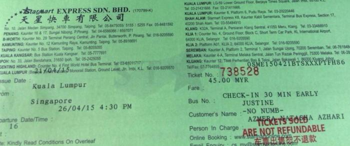 Starmart bus ticket for sale 26/4/2015