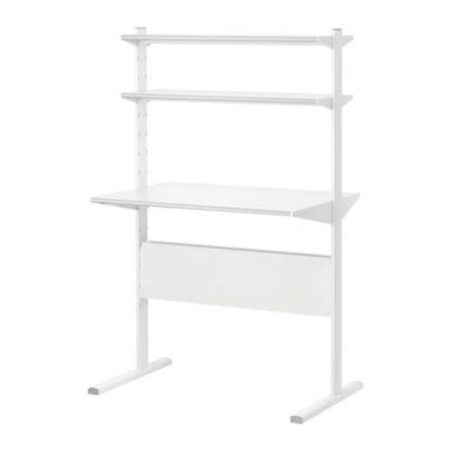 sturdy white ikea desk w 2 shelves selling 98 u p. Black Bedroom Furniture Sets. Home Design Ideas