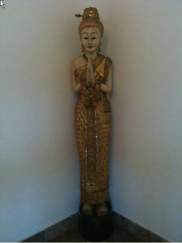 Thai Sawasdee Girl Standing Teak Wood Statue (Painted &