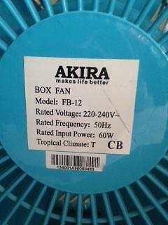 Used Akira FB-12 Box Fan (1 year 3months old)