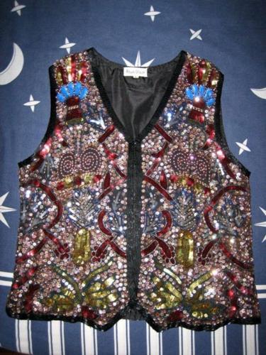 Vintage 80s Frank Usher Sequin and Bead Waistcoat Vest