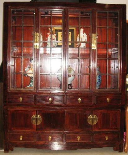 Vintage Elmwood Display Cabinet