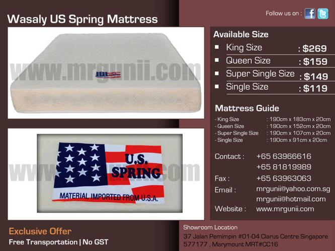 WASALY US SPRING SINGLE SIZE MATTRESS ONLY AT :$119, NO
