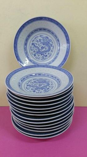 White& Blue Rice Design Plates