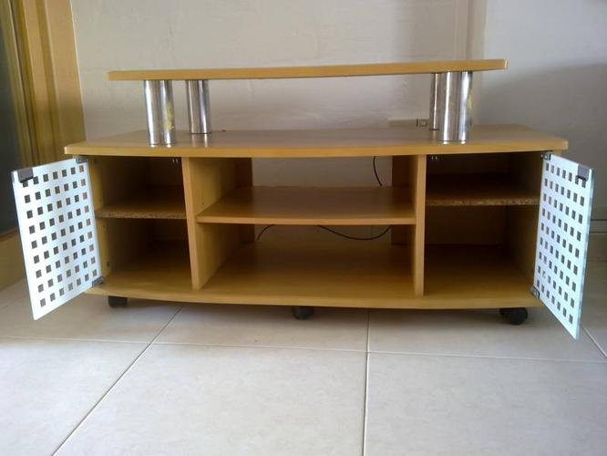 Wooden TV table rack with 2 glass doors @ $50