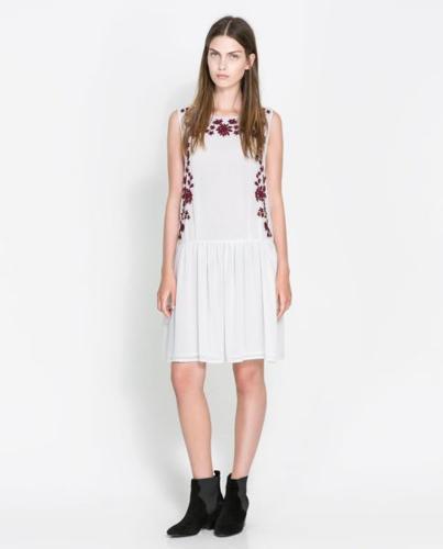 ZARA | Elegant White Dress With Embroidery