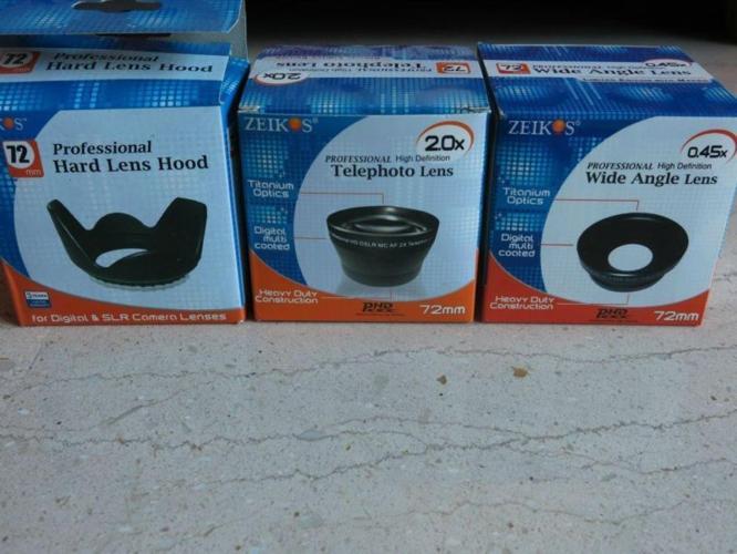 ZEIKOS Telephoto Lens, Wide Angle Lens & Hard Lens