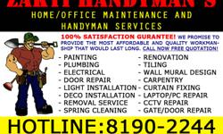AT ZAKTI HANDYMAN , GET THE BEST HOUSE PAINTING DEALS AT A REASONABLE RATE.   2 Room Flat - $450 3 Room Flat - $550 4 Room Flat - $650 5 Room Flat - $700  Prices excludes painting of doors, frames, gates and water-pipes  CALL NOW